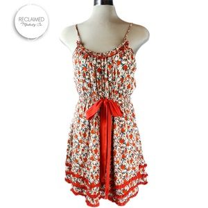 YA LOS ANGELES Red Floral Cotton Summer Dress